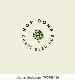 Beer Pub emblem. Hop cone logo. Craft Beer logotype.