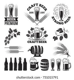 Beer pub labels set. Logo design elements. Brewery beer label, brewery logo and badge, vector illustration