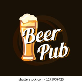 Beer Pub Logo on dark beautiful background. Vector Stylish Emblem for bar. A Cup of beer with text description.