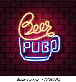 Beer pub neon sign. Neon sign, bright signboard, light banner. Vector icons