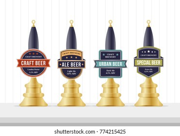 Beer pump collection. Beer pump template design. Beer pump label set.