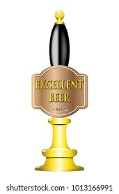 A beer pump design with text isolated on a white background