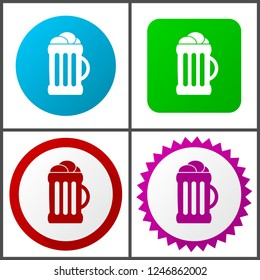 Beer red, blue, green and pink vector icon set. Web icons. Flat design signs and symbols easy to edit