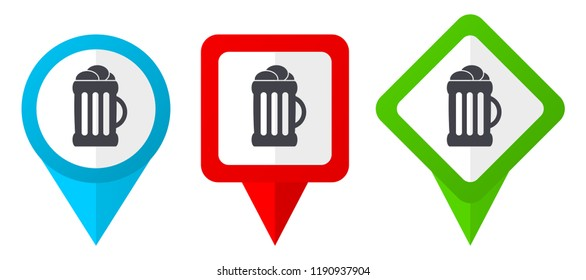 Beer red, blue and green vector pointers icons. Set of colorful location markers isolated on white background easy to edit.