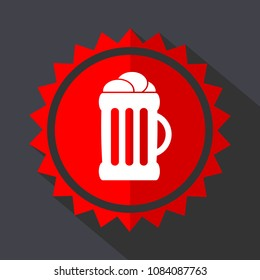 Beer red sticker flat design vector icon