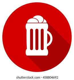 beer red vector icon, circle flat design internet button, web and mobile app illustration