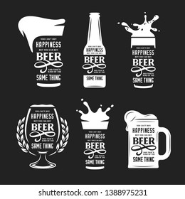 Beer related typography quote set. You cannot buy happiness but you can buy beer phrase. Monochrome pub wall art print set. Vector vintage illustration.