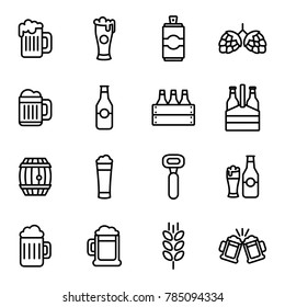 Beer related vector icons. Beer drink thin line icon set liquid beverage bar or pub