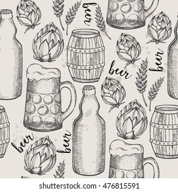 Beer seamless pattern background. Food design icons hand-drawing elements. Graphic texture for restaurant template.