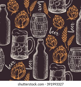 Beer seamless pattern background vector. Food design icons hand-drawing elements. Graphic texture for restaurant template.