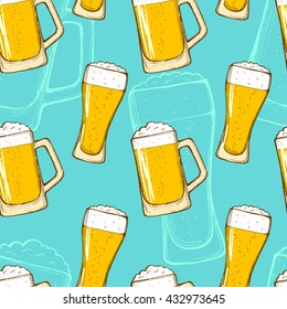 Beer seamless pattern. Repeating hand-drawing colorful glasses of beer, oktoberfest beer. Vector.