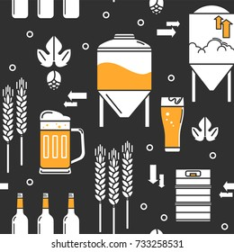 Beer. Seamless vector background. Bottles, keg, glass, mug, equipment for brewery, hops, wheat. Line icons on a dark background.