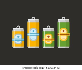 Beer set. A collection of beer cans in different colors on a black background. Isolated in a trendy flat style.