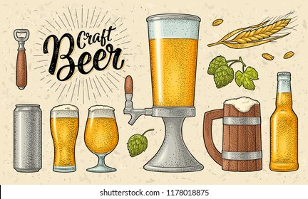 Beer set with mug, glass, can, tower, bottle, hop with leaf, ear of wheat. Vintage color vector engraving illustration isolated on beige spotted background. For labels, packaging, poster