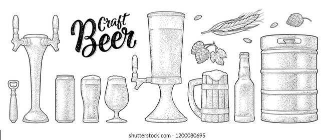 Beer set with mug, tap, glass, can, tower, bottle, hop with leaf, ear of wheat. Vintage black vector engraving illustration isolated on white background. For labels, packaging, poster