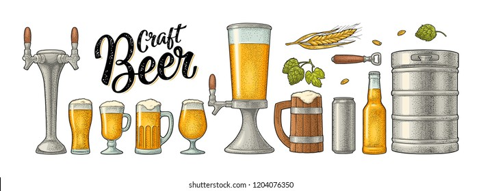 Beer set with mug, tap, glass, can, tower, bottle, keg, hop with leaf, ear of wheat. Vintage black vector engraving illustration isolated on white background. For labels, packaging, poster