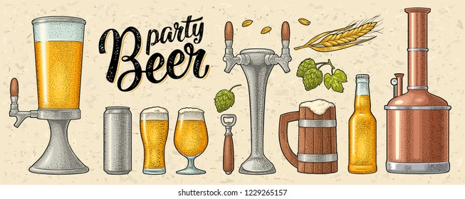Beer set with mug, tap, glass, can, tower, bottle, hop with leaf, ear of wheat. Vintage color vector engraving illustration isolated on beige spotted background. For labels, packaging, poster