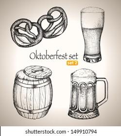 Beer set. Sketch elements for oktoberfest festival. Hand-drawn vector illustration. Set 2