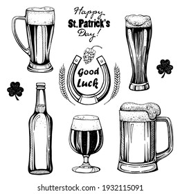 Beer set, St.Patrick 's Day. Black and white set with a picture of glasses with beer.  Black and white drawing, March 17.