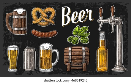 Beer set with tap, class, can, bottle, barrel, sausage, pretzel, hop. Vintage vector engraving illustration for invitation party oktoberfest festival, poster. Hand drawn  isolated on dark background