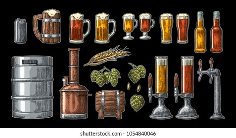Beer set with tap, glass, can, bottle, hop branch with leaf, ear of barley, wooden barrel and tanks from brewery factory. Vintage vector engraving illustration. Isolated on dark background.