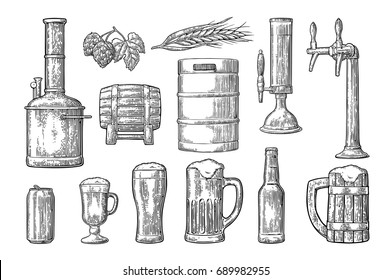 Beer set with tap, glass, can, bottle, hop branch with leaf, ear of barley, wooden barrel and tanks from brewery factory. Vintage black vector engraving illustration. Isolated on white background.