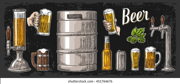 Beer set with two hands holding glasses mug and tap, can, keg, bottle. Vintage vector engraving illustration for web, poster, invitation to party oktoberfest festival. Isolated on dark background.