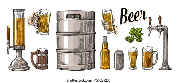 Beer set with two hands holding glasses mug and tap, can, keg, bottle. Vintage color vector engraving illustration for web, poster, invitation to party. Isolated on white background.