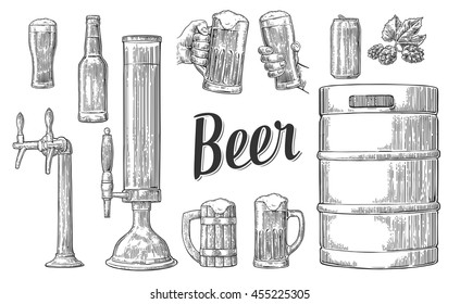 Beer set with two hands holding glasses mug and tap, can, keg, bottle. Vintage vector engraving illustration for web, poster, invitation to party oktoberfest festival. Isolated on white background.