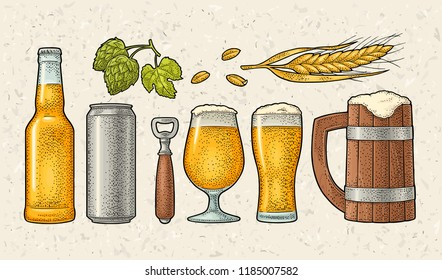 Beer set with wood mug, glass, metal can, bottle, hop herb plants with leaf, ear of wheat. Vintage color vector engraving illustration isolated on spotted background. For labels, packaging and poster
