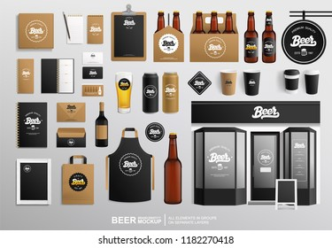 Beer Shop and Restaurant Faсade Brand identity vector Mock-Up set. Dark craft beer vector bottle, restaurant sign, packge, menu and stationery items. Outdoor signage bar and cafe faсade mockup