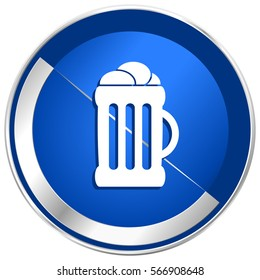 Beer silver metallic web and mobile phone vector icon in eps 10.