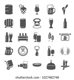 Beer simple icons set for web and mobile design