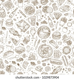 Beer and snacks hand drawn vector seamless pattern. Pub food illustration