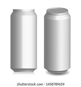 beer or soda can mockup, vector illustration