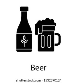 Beer stein vector perfect for bar in glyph style