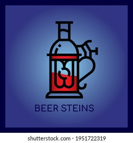 Beer Steins,Thin line and Pixel Perfect Icon.