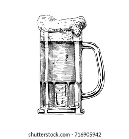 Beer in tankard glass. Vector illustration in ink hand drawn style. isolated on white.