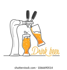 Beer tap in a bar. Oktobrfest celebration in Germany. Drink beer typography vector illustration on white background. Yellow beer and foam on holiday. Drink as much as you can. Cheers my friend.