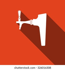 Beer tap flat icon with long shadow. Vector Illustration