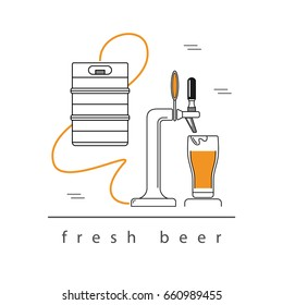 Beer tap, a glass of beer, beer in kegs. Design element. Modern linear style. Vector  illustration.