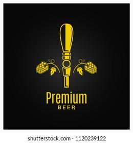 beer tap with beer hops logo on black background