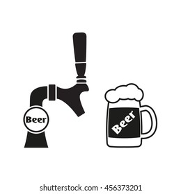 Beer tap icon and beer mug icon. Vector illustration.