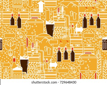 Beer tap, mug, glass with dark beer, kegs, bottles, equipment for brewery, hops, wheat. Linear seamless pattern on a yellow background. Vector illustration.