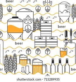 Beer tap, mug, glass with beer, kegs, bottles, equipment for brewery, hops, wheat. Linear pattern on white background. Vector illustration.