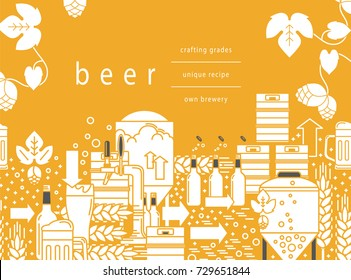 Beer tap, mug, glass with beer, kegs, bottles, equipment for brewery, hops, wheat. Linear pattern on a yellow background. Vector illustration.