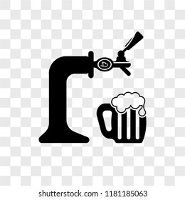 Beer tap vector icon isolated on transparent background, Beer tap logo concept