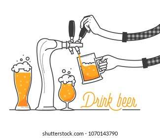 Beer tapping in a bar. Minimal oktobrfest celebration in Germany. Drink beer typography vector illustration on white background. Yellow beer and foam on holiday. Drink as much as you can. Cheers!