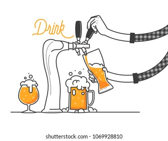 Beer tapping in a bar or restaurant. The guy is wearing a plaid shirt. three glass of beers minimal vector illustration, line design. Drink ale or cold foamed craft beer.  3 different type of glasses