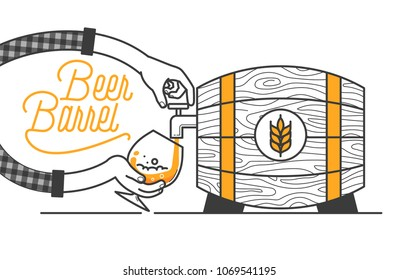 Beer tapping from wooden barrel minimal vector illustration. Line design. Wheat beer in a barrel for pub designs. Wooden barrel with a good drink and typo design. Open the tap and set beer free